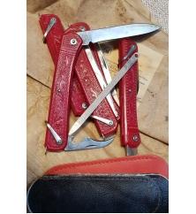 Нож складной трехпредметный с пилкой, красный. 120 мм. СССР