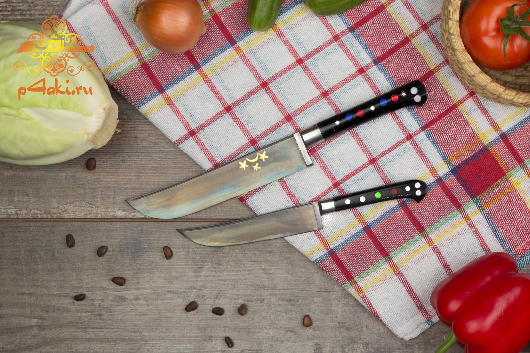 """Набор узбекских ножей пчак """"Классический"""" (рукоять с накладным монтажом «Ерма доста») оргстекло"""