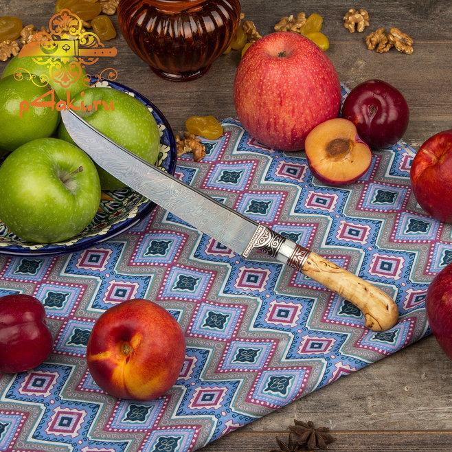 нож Эпицентр, (монтаж всадной «Сукма даста» — рукоятка из карельской березы в целостной форме.) со вставками перламутра (садаф) и чермяхи