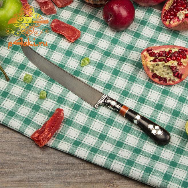 нож Гамаюн, (монтаж всадной «Сукма даста» — рукоятка из рога в целостной форме.) со вставками перламутра (садаф) и чермяхи