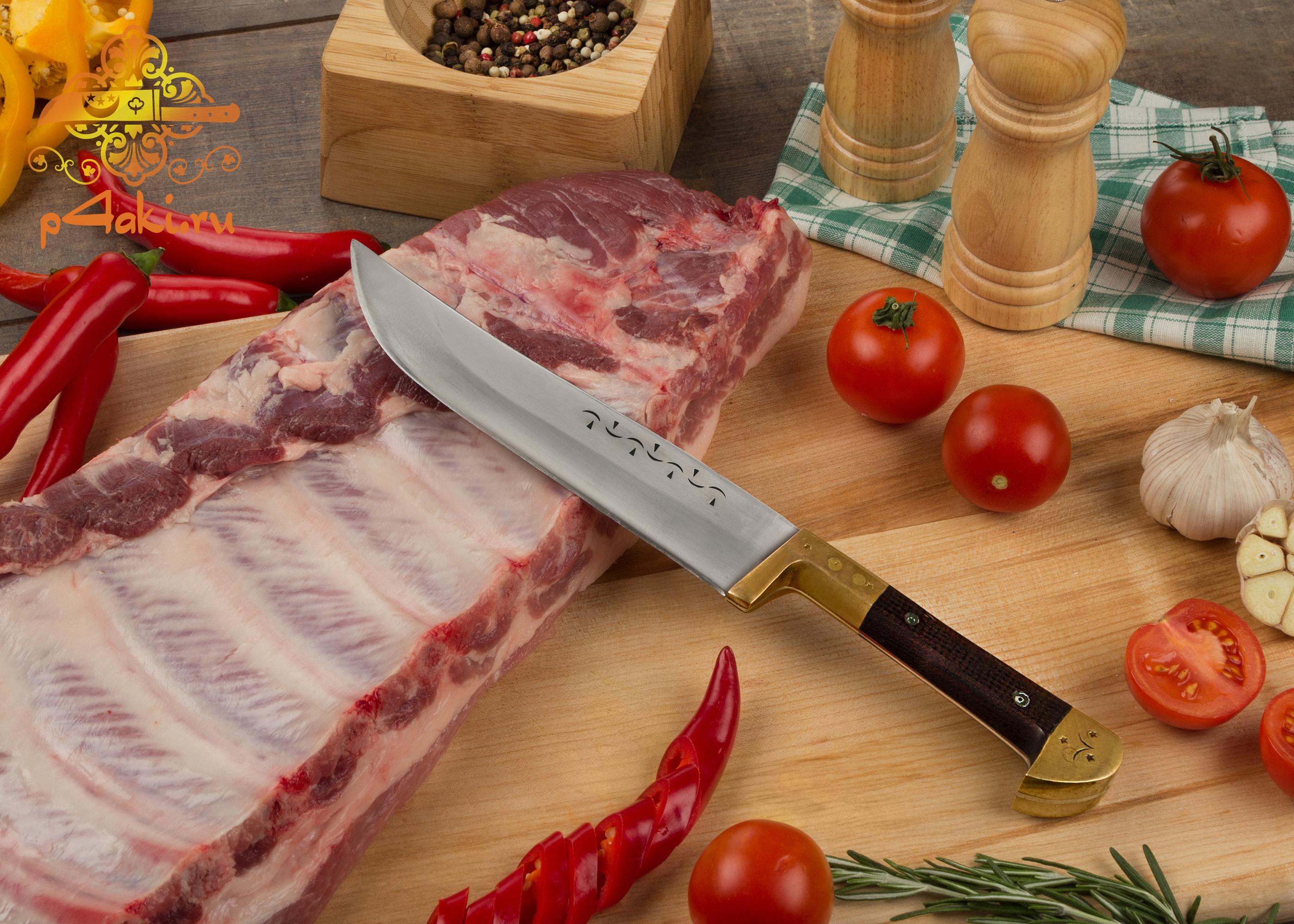 Узбекский нож пчак из СССР (монтаж накладки «ерма даста» — рукоятка из латуни, текстолита.)