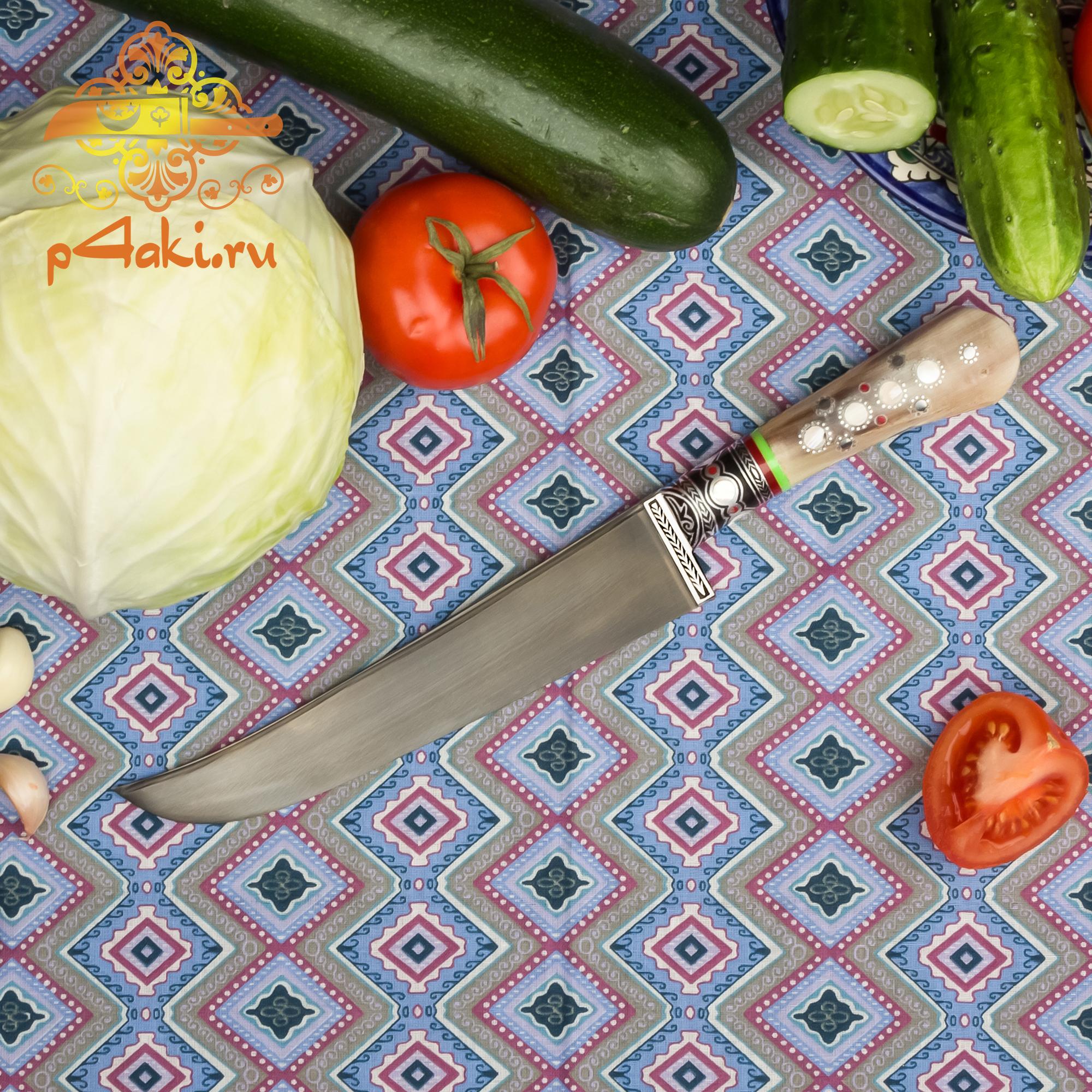 Нож Ог суяк, рукоять рог архара (рукоять с накладным монтажом «Ерма доста») со вставками перламутра (садаф) и чермяхи
