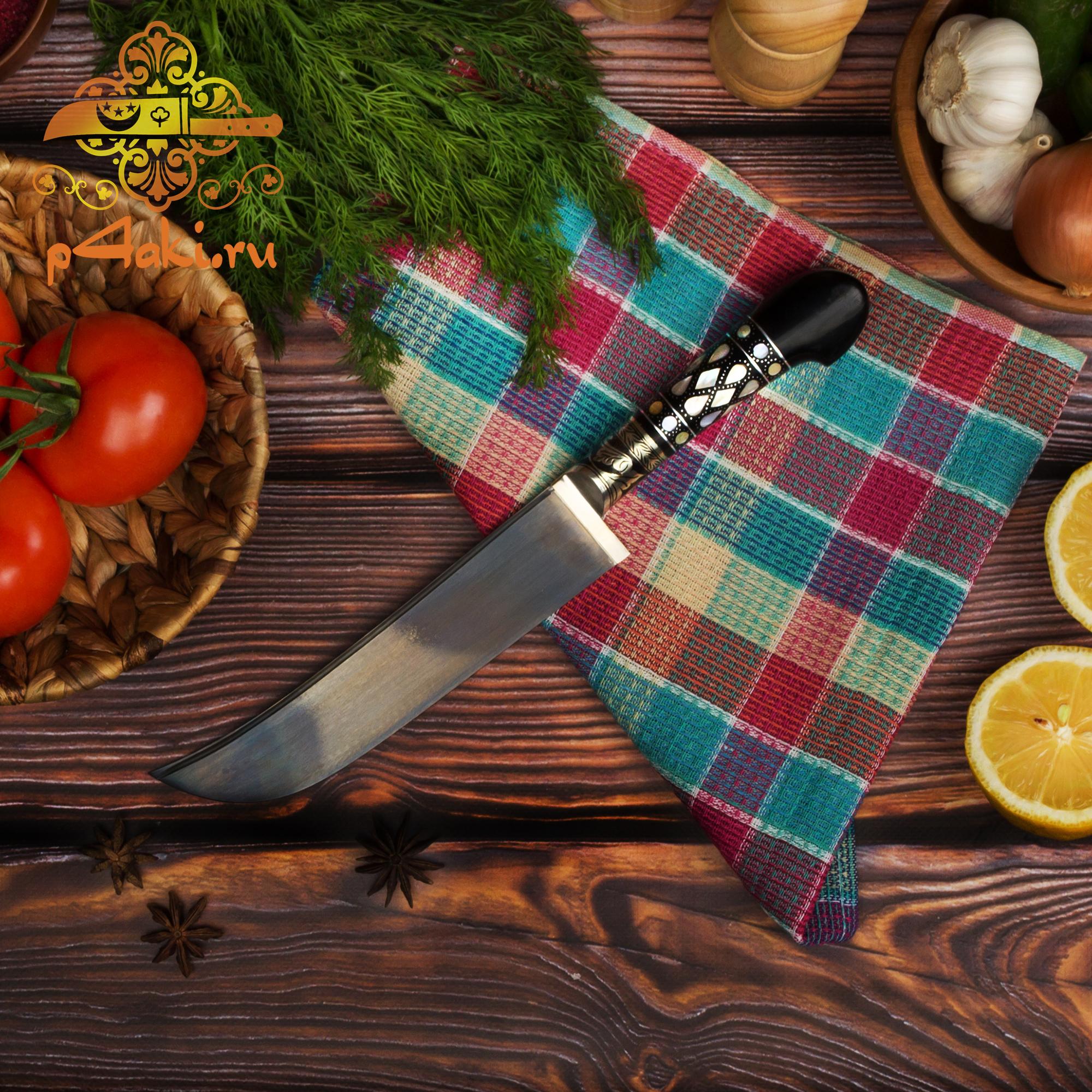 Нож Хотч, рукоять эбонит (рукоять с накладным монтажом «Ерма доста») со вставками перламутра (садаф) и чермяхи