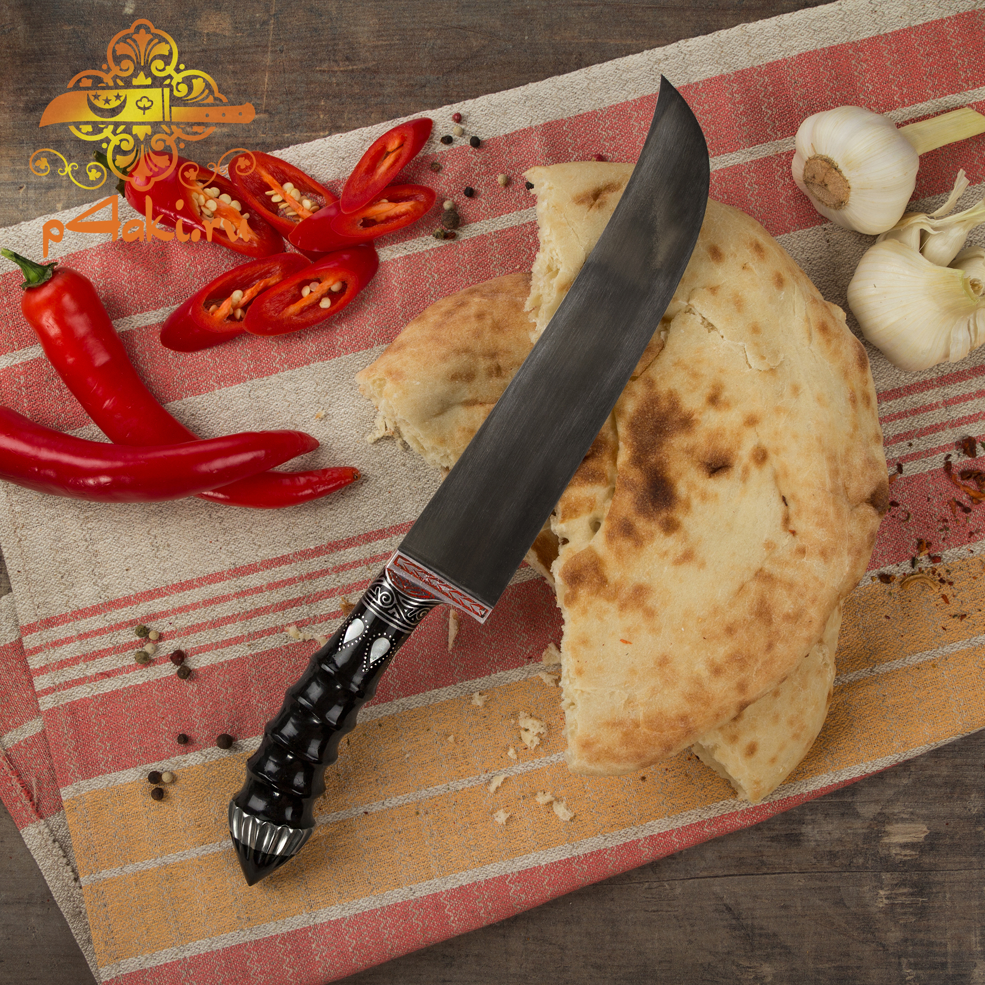 """Узбекский нож пчак """"Югори"""", (монтаж «сукма даста» — рукоятка из эбонит со вставками перламутра (садаф) и чермяхи.)"""