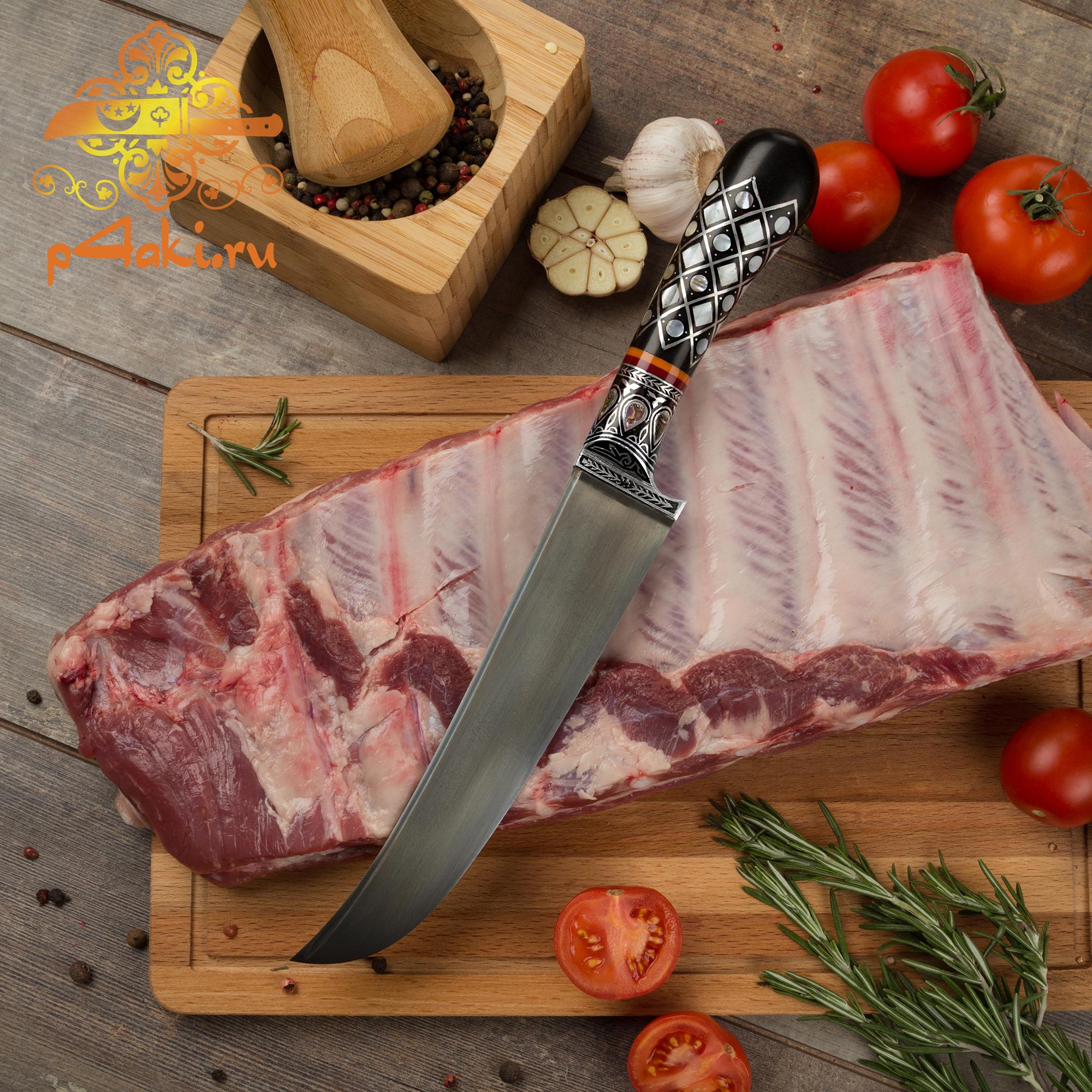 Нож Зумрад томчи, рукоять эбонит (рукоять всадная «сукма доста») со вставками перламутра (садаф) и чермяхи