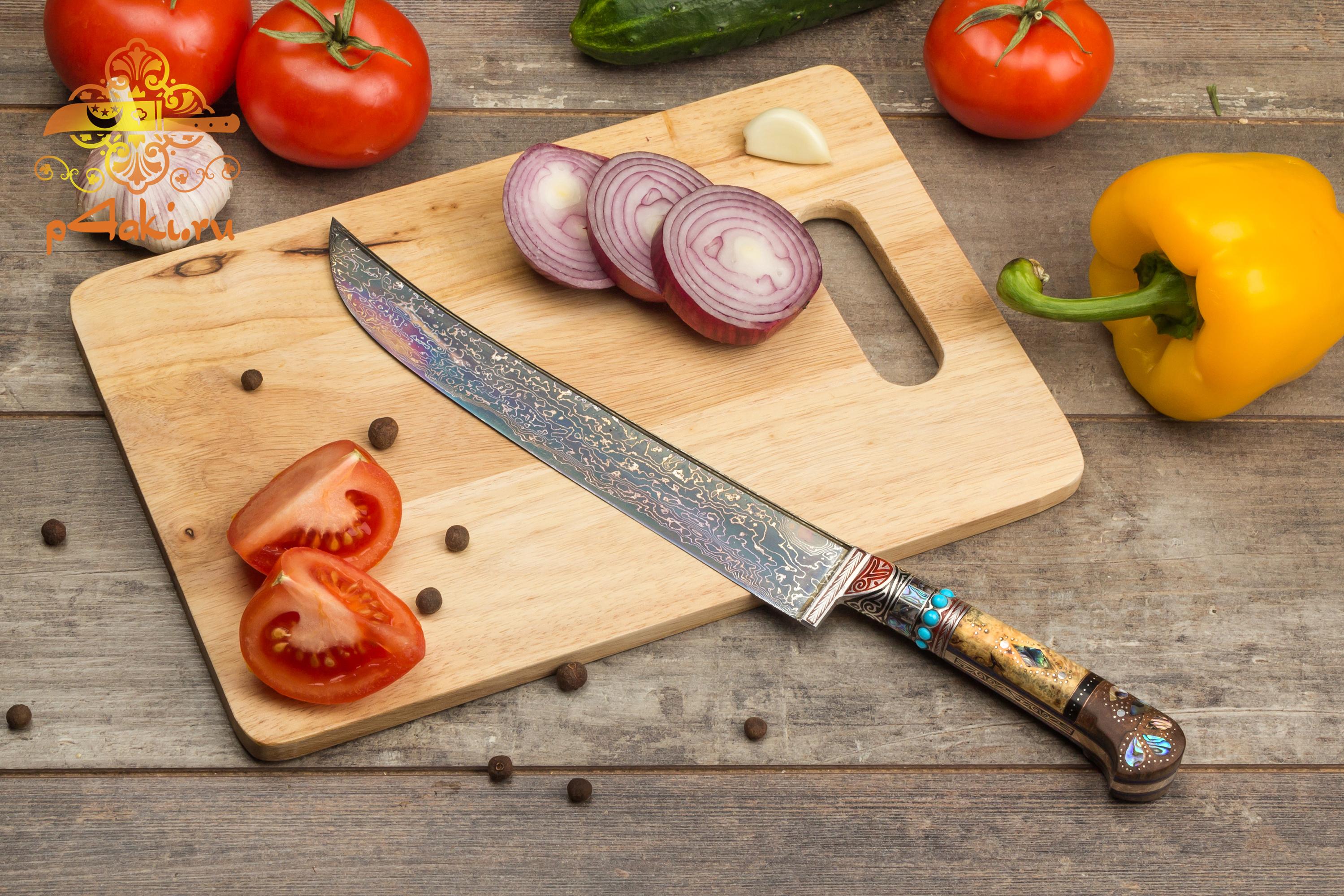 нож Сердце Дракона, (монтаж накладки «ерма даста» — рукоятка из стабилизированной карельской березы.) со вставками перламутра (садаф) и чермяхи