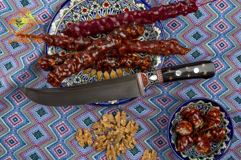 Узбекский нож пчак Коготь тигра, (рукоять с накладным монтажом «Ерма доста») со вставками перламутра (садаф) и чермяхи