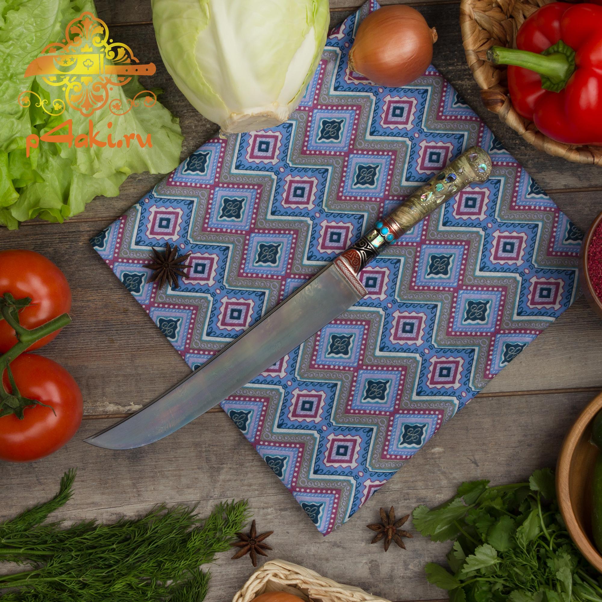 Нож Порлог, рукоять карельская береза стабилизированная (рукоять накладная «ерма доста»), бирюза, олово, перламутр и чермяха